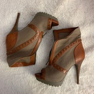 Trouve Peep Toe Booties - Green and Brown